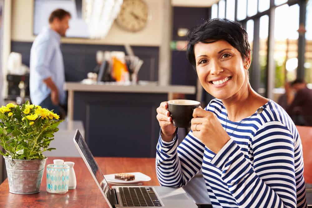 Woman having coffee at coffee shop